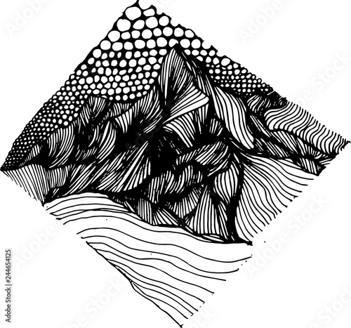 Fotografía  Psychedellic pattern with mountains drawn by lines and sky drawn by circles