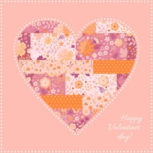 Cute Patchwork Heart Pattern. Beautiful Card For Valentine Day. Vector Illustration.