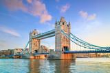 Fototapeta Londyn - London skyline with Tower Bridge at twilight