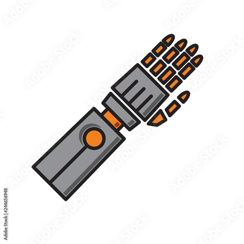 Fotografie, Obraz  Droid arm prosthesis icon on white background for graphic and web design, Modern simple vector sign