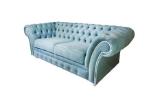 Light Blue Fabric Sofa In Chester Style For Elite Loft Interior Isolated White Background
