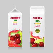 Packages For Cherry Juice, Cardboard Pack And Beverage With Juice Splash, Vector Illustration