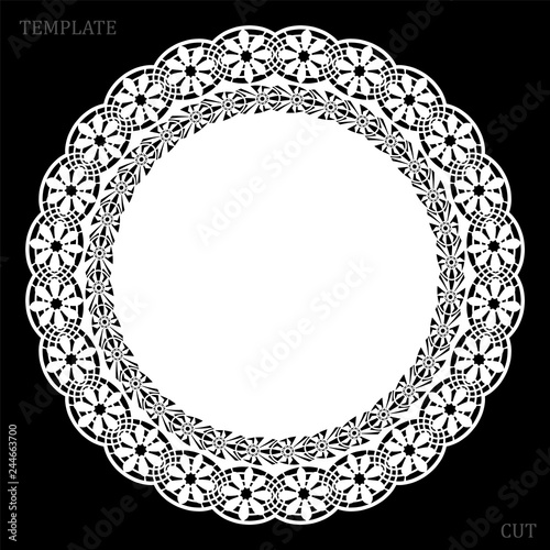 Fotografia, Obraz  Lace round paper doily, greeting element, laser cut  template, doily to decorate the cake,  vector illustrations