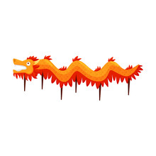 Traditional Red-orange Dragon Dance Costume. Symbolic Creature In Folklore And Mythology Of Vietnam. Flat Vector Design
