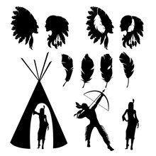 Set Of Isolated Black Silhouettes Of Native Americans On White Background