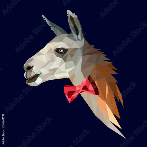 Llama hipster in a red bow tie Wallpaper Mural