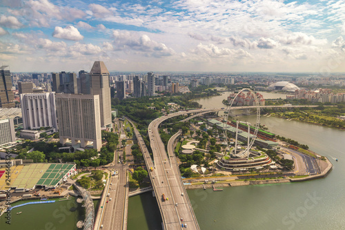Foto op Canvas Aziatische Plekken Singapore city skyline, high angle view at Marina Bay business district
