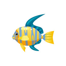 Tropical Exotic Angel Fish, Bright Colorful Coloring, Vector Isolated On White Background, Cartoon Style