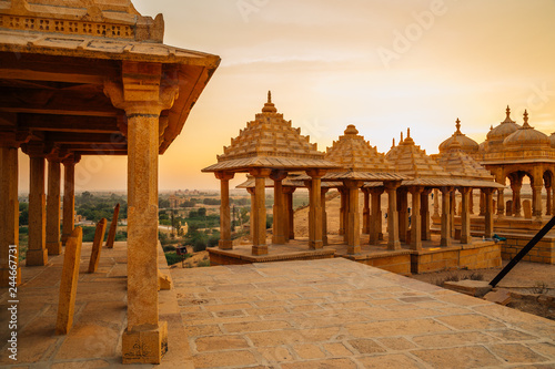 Poster Con. Antique Vyas Chhatri sunset view in Jaisalmer, India