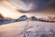 Leinwanddruck Bild - Landscape of snow mountains range with footprint on snowy at sunrise