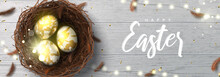 Happy Easter Horizontal Banner. Beautiful Background With Realistic Wicker Nest, White Golden Eggs, Sparkling Gold Confetti, Shining Garland And Chicken Feathers. Holiday Vector Illustration.