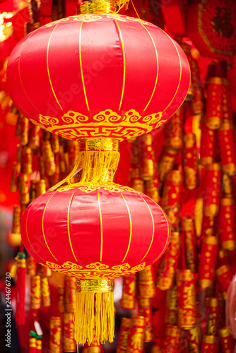 Tuinposter China traditional red Chinese lanterns (Chinese New Year or Spring Festival concept)