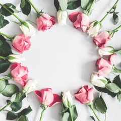 Flowers composition. Pink and white rose flowers on pastel gray background. Flat lay, top view, copy space, square