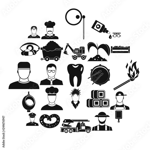Fotografie, Obraz  Occupational icons set