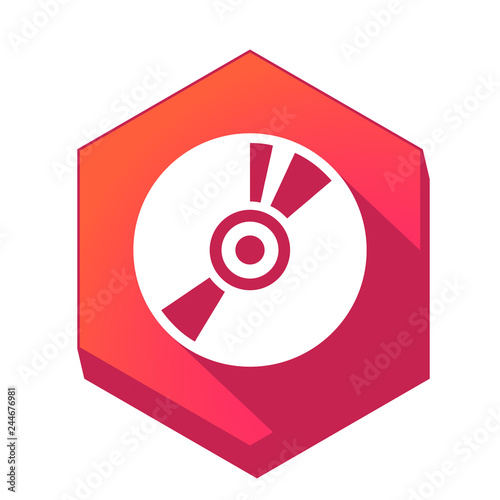 Photo  ikona z długim cieniem na tle sześcioboku