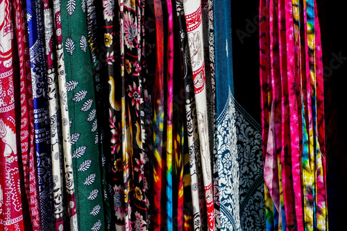 scarves for sale at the market, digital photo picture as a background Canvas Print