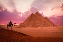 Pyramid Giza Egypt Sunset Phan...