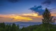 Multicolor Sunset Sky in Forested Mountains. Time Lapse