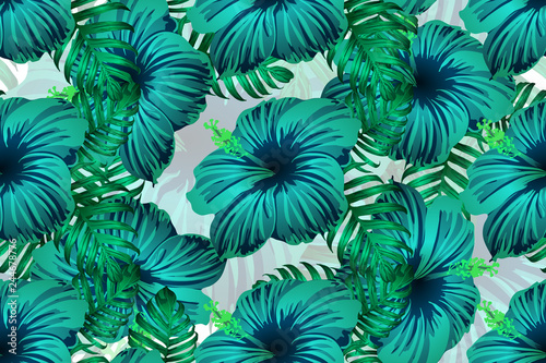 Cotton fabric Hawaiian tropic jungle endless print.