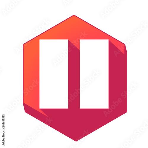 Fotografie, Obraz  ikona z długim cieniem na tle sześcioboku