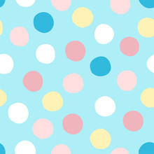 Hand Drawn Dots Seamless Vector Pattern With Pastel Colors