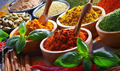 Fotografie, Obraz  Variety of spices on kitchen table