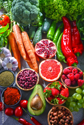 Composition with fresh vegetarian grocery products Wall mural