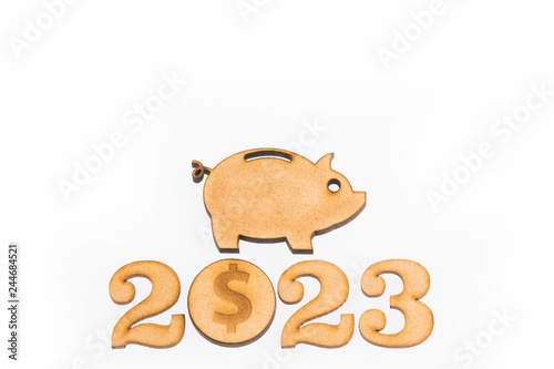 Fotografia  Budget for the year 2023 - Savings concept. Top view