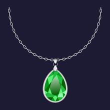 Green Pendant Necklace Icon. Realistic Illustration Of Green Pendant Necklace Vector Icon For Web Design