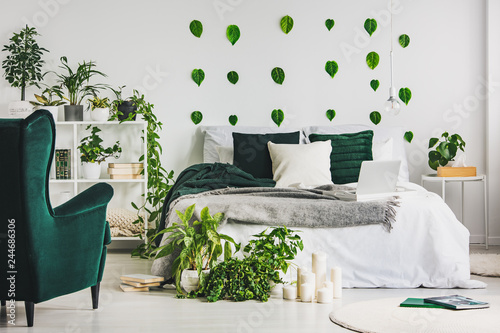 Urban jungle in cozy emerald green and white bedroom ...
