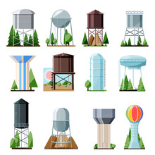 Water Tower Vector Tank Storage Watery Resource Reservoir And Industrial High Metal Structure Container Water-tower Illustration Set Of Towered Construction Isolated On White Background