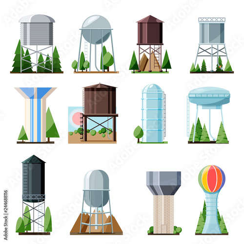 Photo Water tower vector tank storage watery resource reservoir and industrial high me