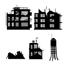 Black Silhouette Of Broken City On White Background. Industrial Landscape. War Conflict. Ruins Of Houses After Earthquake. Old Building Scene