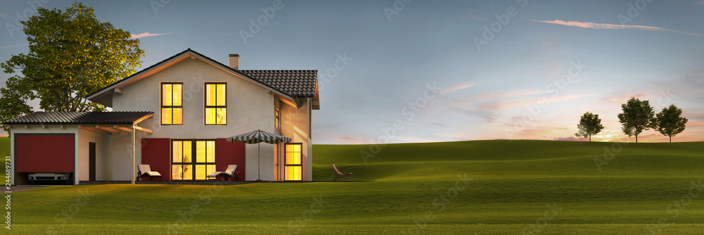 Fototapety, obrazy: Evening view of a modern house with garden and terrace