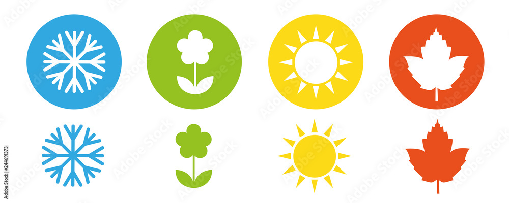 Fototapety, obrazy: four seasons winter spring summer fall icon set vector illustration EPS10