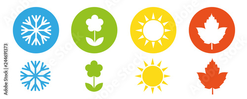 four seasons winter spring summer fall icon set vector illustration EPS10