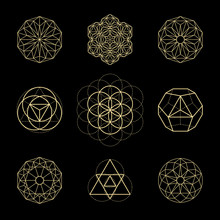 Vector Sacred Geometry Illustration Set . Mystical Celestial Symbols. Gold Abstract Compositions Suitable For Apparel, Card, Poster Design.