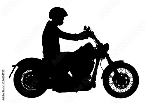 Poster Motocyclette Biker driving a motorcycle rides along the asphalt road vector silhouette illustration. Freedom activity. Road travel by bike. Man on bike silhouette. Motorbike rider silhouette.