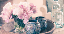 Pink Peony Flowers In Vase And...
