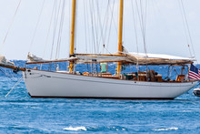 Saint Vincent And The Grenadines, Sailboat With Wooden Masts, Gaff Rigged
