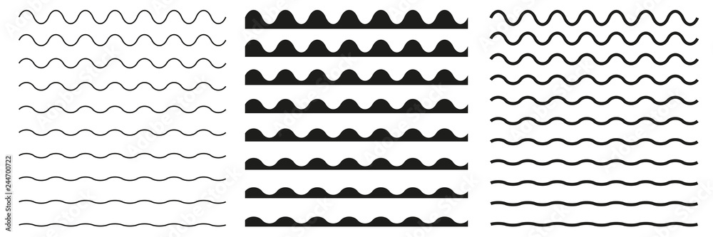 Fototapety, obrazy: Set of wavy horizontal lines. Vector border design element