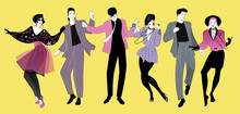 Young People Dancing New Wave Music Wearing Clothes In The Style Of The 80s