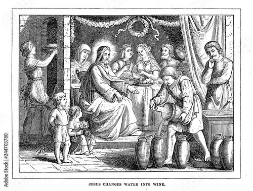 Fotografia Jesus changes water into wine