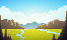 Landscape Of Vast Plain Of Green Grass. Blue Sky With Clouds, Rivers And Mountains At Horizon. Vector Illustration.