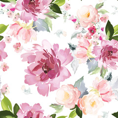 Fototapeta Malarstwo Vector seamless pattern with flower and plants in watercolor style.