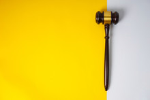 Gavel Hammer With Yellow Backg...