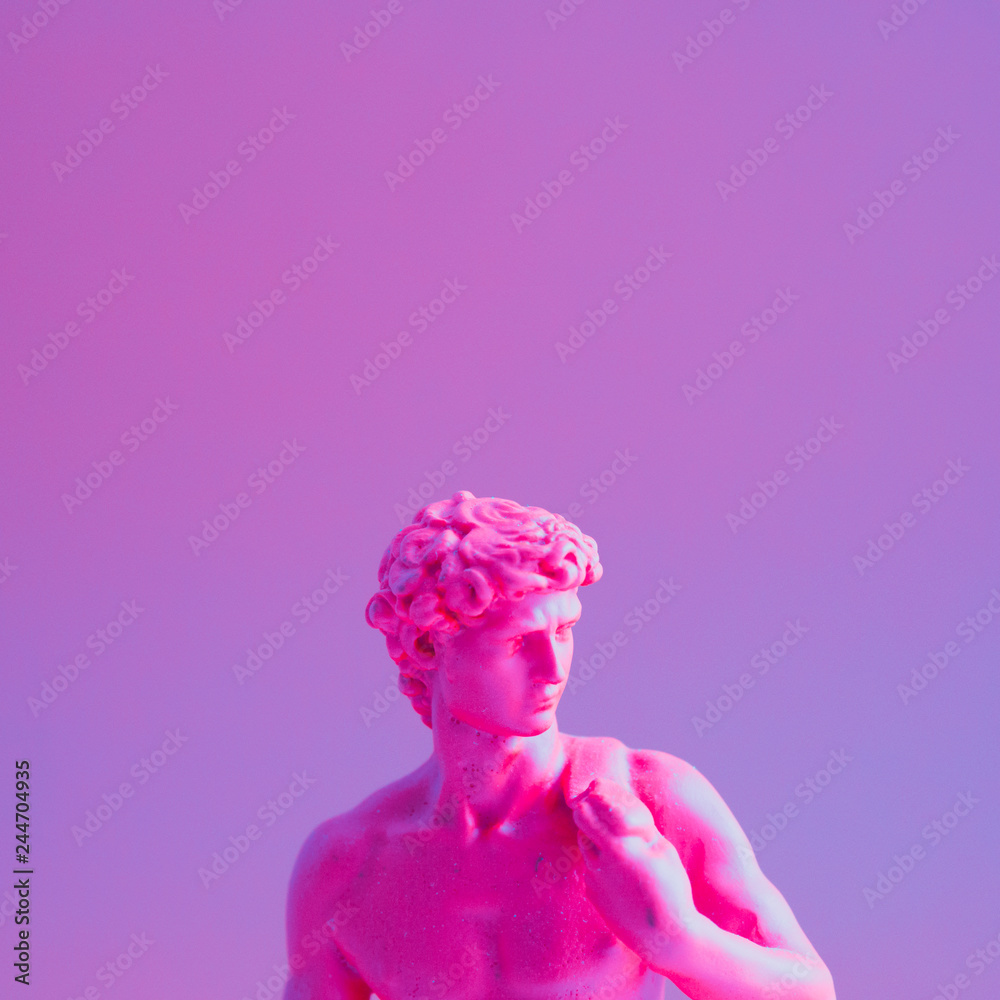 Creative concept of purple neon David is a masterpiece of Renaissance sculpture created  by Michelangelo. Vaporwave style  . - obrazy, fototapety, plakaty