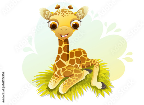 Cute Baby Giraffe Cartoon Character With Big Eyes Sitting In Grass Vector Illustration Isolated In White Background Buy This Stock Vector And Explore Similar Vectors At Adobe Stock Adobe Stock