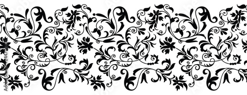 Fototapeta Seamless black and white vintage floral border obraz