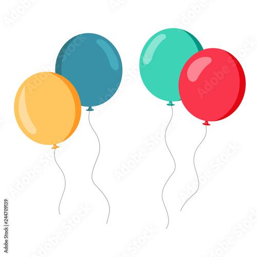 Zestaw kolorowych balonów czerwony zielony żółty niebieski